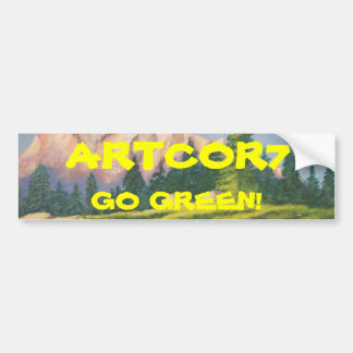 Go Green Pink Mountain Painting Bumper Sticker