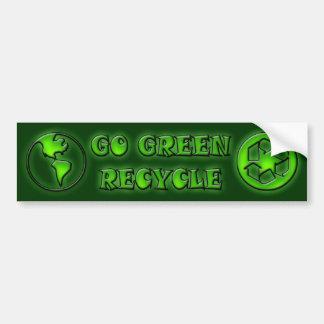 GO GREEN RECYCLE BUMPER STICKER