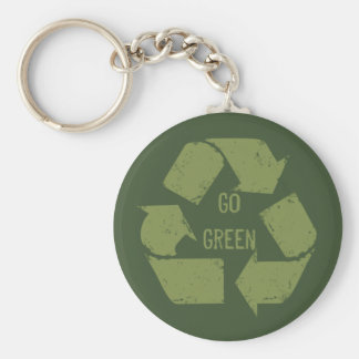 Go Green Recycle Logo Basic Round Button Keychain