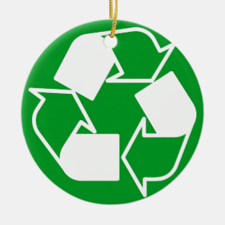 go green reduce recycle round ceramic ornament