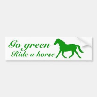 Go green, Ride a horse Bumper Sticker