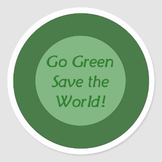 go green save world classic round sticker
