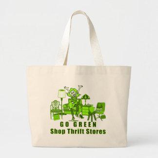 Go Green, Shop Thrift Stores Shopping Bag