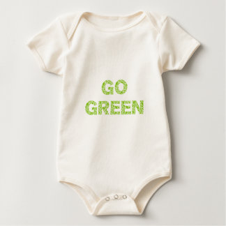Go green, text with fresh green leaves letters baby bodysuit