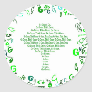 GO GREEN, THINK GREEN Tree in Letter G Round Sticker