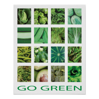 Go Green Vegetables Kitchen Art Poster