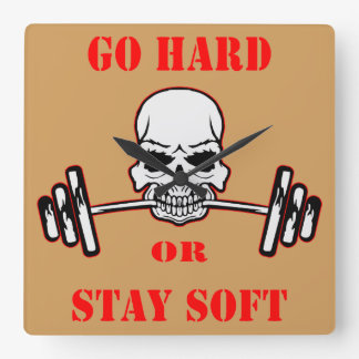 Go Hard Or Stay Soft Gym Weight Lifting Skull Square Wall Clock