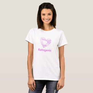 Go Keto Pink heart shaped word cloud design. T-Shirt