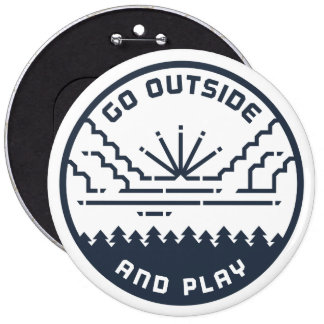 Go Outside And Play - Clouds 6 Inch Round Button
