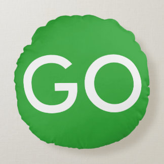 Go Sign Green and White Round Pillow