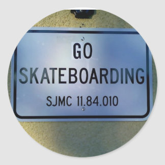 GO SKATEBOARDING ROUND STICKER