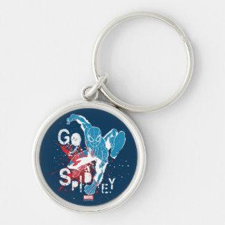 Go Spidey Silver-Colored Round Keychain