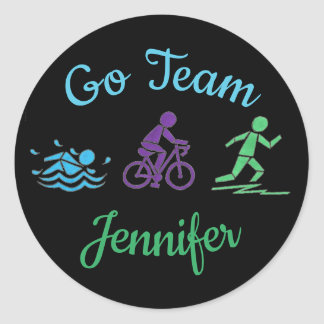 Go Team Personalized Triathlon Ironman Race Classic Round Sticker