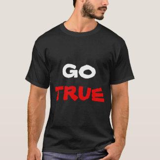 Go True White & Red Black Text T-Shirt