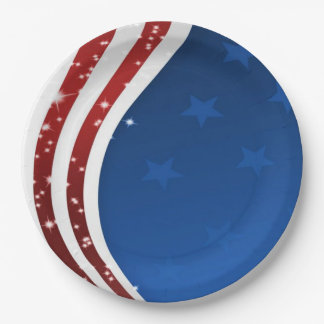 Go USA! Memorial Day Party Paper Plates 9 Inch Paper Plate