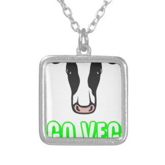 Go Veg ©  Logo Silver Plated Necklace