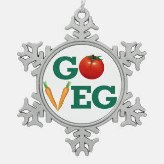 Go Veg Pewter Snowflake Ornament