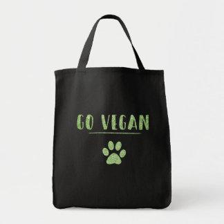 Go Vegan Animal Paw Faux Green Glitter Typography Tote Bag