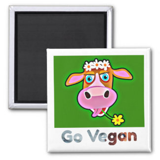 Go Vegan  collection - HAPPY COW - Square Magnet