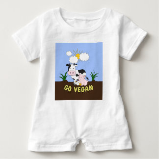 Go Vegan - Cute Cow Baby Romper