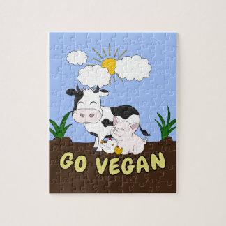 Go Vegan - Cute Cow Jigsaw Puzzle