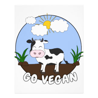 Go Vegan - Cute Cow Letterhead