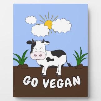 Go Vegan - Cute Cow Plaque