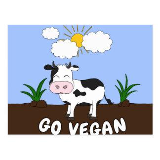 Go Vegan - Cute Cow Postcard