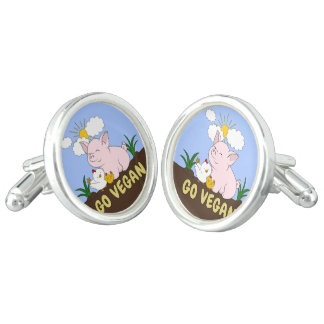 Go Vegan - Cute Pig and Chicken Cufflinks
