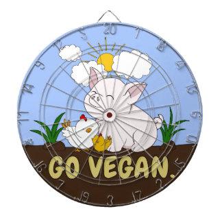 Go Vegan - Cute Pig and Chicken Dartboard