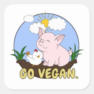 Go Vegan - Cute Pig and Chicken Square Sticker