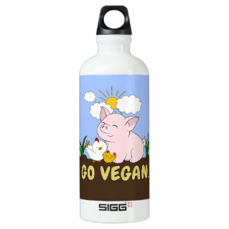 Go Vegan - Cute Pig and Chicken Water Bottle