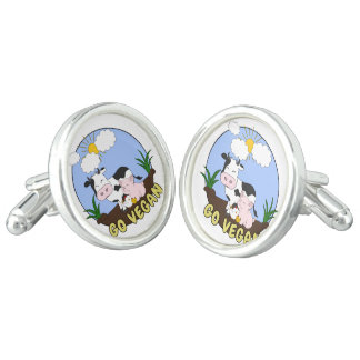 Go Vegan - Cute Pig, Cow and Chicken Cufflinks