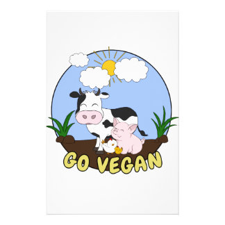 Go Vegan - Cute Pig, Cow and Chicken Stationery