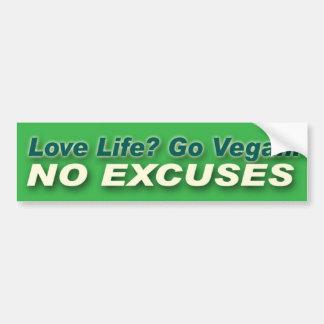 Go Vegan. No Excuses. Bumper Sticker