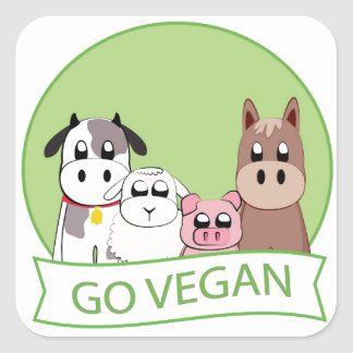 Go Vegan Square Sticker