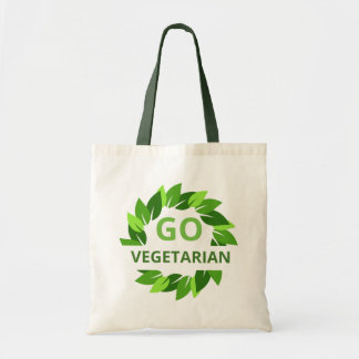 Go Vegetarian, Vegan, Veganism Green Leaves Peta Tote Bag