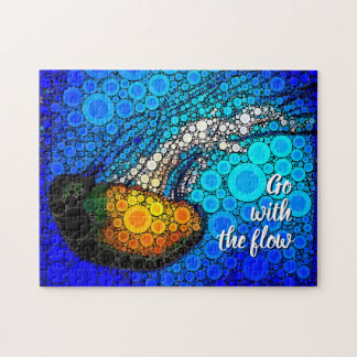 """Go with the Flow"" Fun, Ocean Jellyfish Circle Art Jigsaw Puzzle"