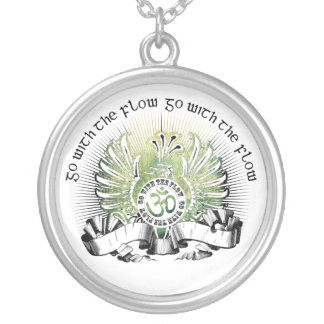Go With The Flow Griffin & Om Symbol Silver Plated Necklace