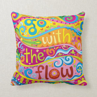 """""""Go with the flow"""" Pillow - Positive Art"""