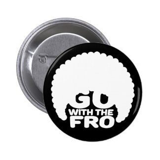 Go With the Fro Black 2 Inch Round Button