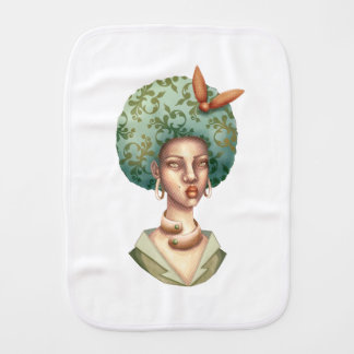 Go with the Fro -  Lady with Green Afro Unique Art Burp Cloth