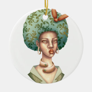 Go with the Fro -  Lady with Green Afro Unique Art Ceramic Ornament