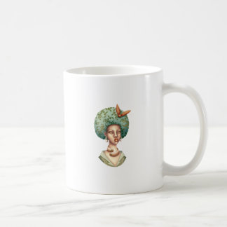 Go with the Fro -  Lady with Green Afro Unique Art Coffee Mug