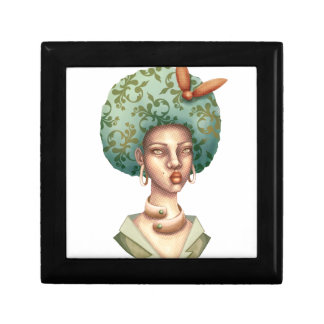 Go with the Fro -  Lady with Green Afro Unique Art Gift Box