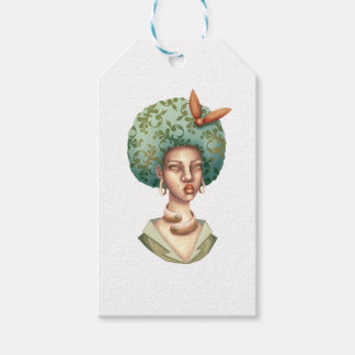 Go with the Fro -  Lady with Green Afro Unique Art Gift Tags