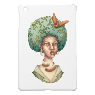 Go with the Fro -  Lady with Green Afro Unique Art iPad Mini Cover