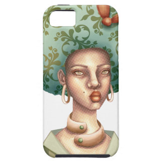 Go with the Fro -  Lady with Green Afro Unique Art iPhone 5 Case