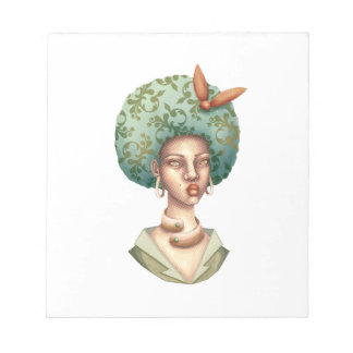 Go with the Fro -  Lady with Green Afro Unique Art Notepad