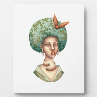 Go with the Fro -  Lady with Green Afro Unique Art Plaque